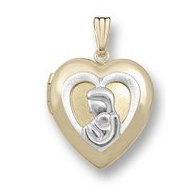 "Solid 14K Yellow Gold ""Mother & Child"" Locket"