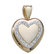 14K Yellow Gold Premium Weight Diamond Locket
