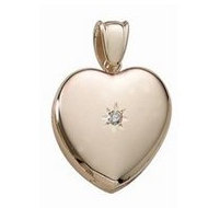 Solid 14k Premium Weight Yellow Gold Heart W  Center Diamond Picture Locket