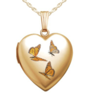 14K Gold Filled Monarch Butterfly Heart Locket