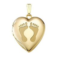"Solid 14k Yellow Gold Heart ""Baby Footprints"" Picture Locket"