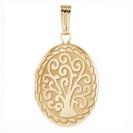 14k Yellow Gold Tree of Life Oval Locket