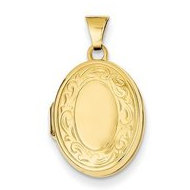 14k Yellow Gold Oval Floral Locket