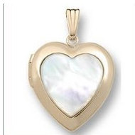 Solid 14K Yellow Gold Mother Of Pearl Heart Locket