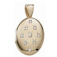 Solid 14k Premium Weight Yellow Gold Oval with Diamonds Picture Locket