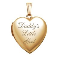 Solid 14K Yellow Gold Daddy s Little Girl Heart Locket