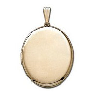 Solid 14k Yellow Gold XL Oval Picture Locket