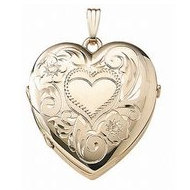 14K Yellow Gold Heart Four Photo Locket