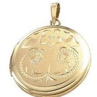 Solid 14K Yellow Gold Round Locket