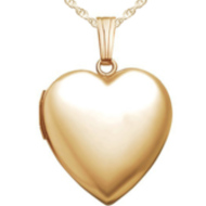 14K Gold Filled Yellow Small Plain Heart Locket
