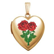 14K Gold Filled  Double Rose  Sweetheart Locket