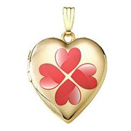 14K Gold Filled  Four Heart Clover  Locket