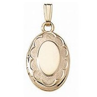 Solid 14K Yellow Gold Children's Oval Locket