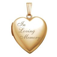 Solid 14K Yellow Gold  In Loving Memory  Locket