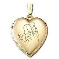 Solid 14K Yellow Gold  Mom with Three Daughters  Locket