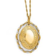 Solid 14K Yellow Gold Diamond Oval Locket w  Floral Frame