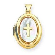 Solid Yellow Gold Mother Of Pearl Cross Locket