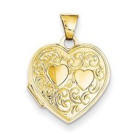 14k Solid Yellow Gold Heart Locket