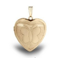 14K Gold Filled Yellow  Butterfly  Heart Locket