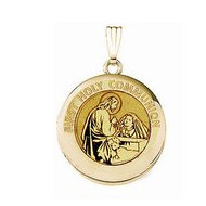 Solid 14k Yellow Gold Round  Holy Communion  Girl Locket