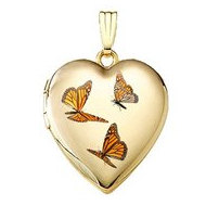 14K Yellow Gold Monarch Butterfly Heart Locket