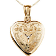 14K Gold Filled Yellow Gold  Floral  Heart