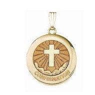 Solid 14k Yellow Gold Round  Confirmation  Cross Locket