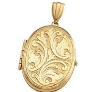 Solid OVAL MEDIUM EMBOSSED LOCKET