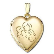Solid 14K Yellow Gold  Mom with Two Sons  Locket