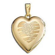 Solid 14K Yellow Gold  Sweetheart  with Rose Locket