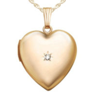 14k Heart Locket w/ Genuine Diamond