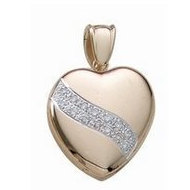 14k Premium Weight Yellow Gold Heart With Diamonds Picture Locket