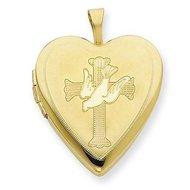 Gold Filled Cross w/ Dove Heart Locket