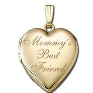 Solid 14K Yellow Gold Mommy's Best Friend Heart Locket