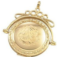 Solid 14K Yellow Gold Round Swivel Locket