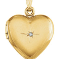 Solid 14K Yellow Gold Heart Shaped Locket W Diamond