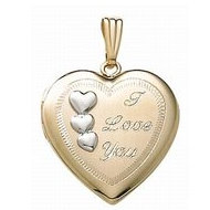 14K Gold Filled  I Love You  Two Tone Locket