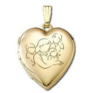 Solid 14K Yellow Gold  Mom with Three Sons  Locket
