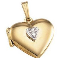 Solid 14K Yellow Gold Heart Locket W Diamond