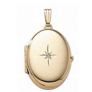 Solid 14K Yellow Gold Oval Four Photo Locket w  4 Pt  Diamond