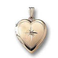 GOLD FILLED Small Heart Locket with Chain and Cubic Zirconia