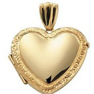 14K Yellow Gold Medium Victorian Heart Locket