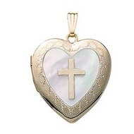 Solid 14K Heart w  Mother of Pearl   Cross
