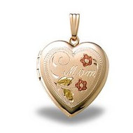 Solid 14K Yellow Gold Heart w  Mom Engraved Locket