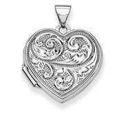 14k White Gold Scrolled Double Sided  Love you always  Heart Locket