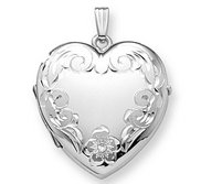14K White Gold Heart Four Photo Locket