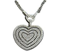 14K White Gold Heart Shape Diamond Locket