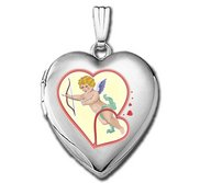 14k White Gold Sweetheart  Cupid Valentines  Locket