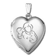 14k White Gold  Mom with Two Sons   Locket