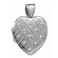 14k White Gold Premium Weight Hand Engraved Diamond Heart Locket